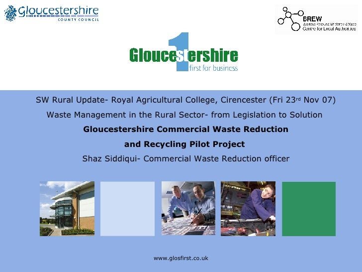 www.glosfirst.co.uk SW Rural Update- Royal Agricultural College, Cirencester (Fri 23 rd  Nov 07) Waste Management in the R...