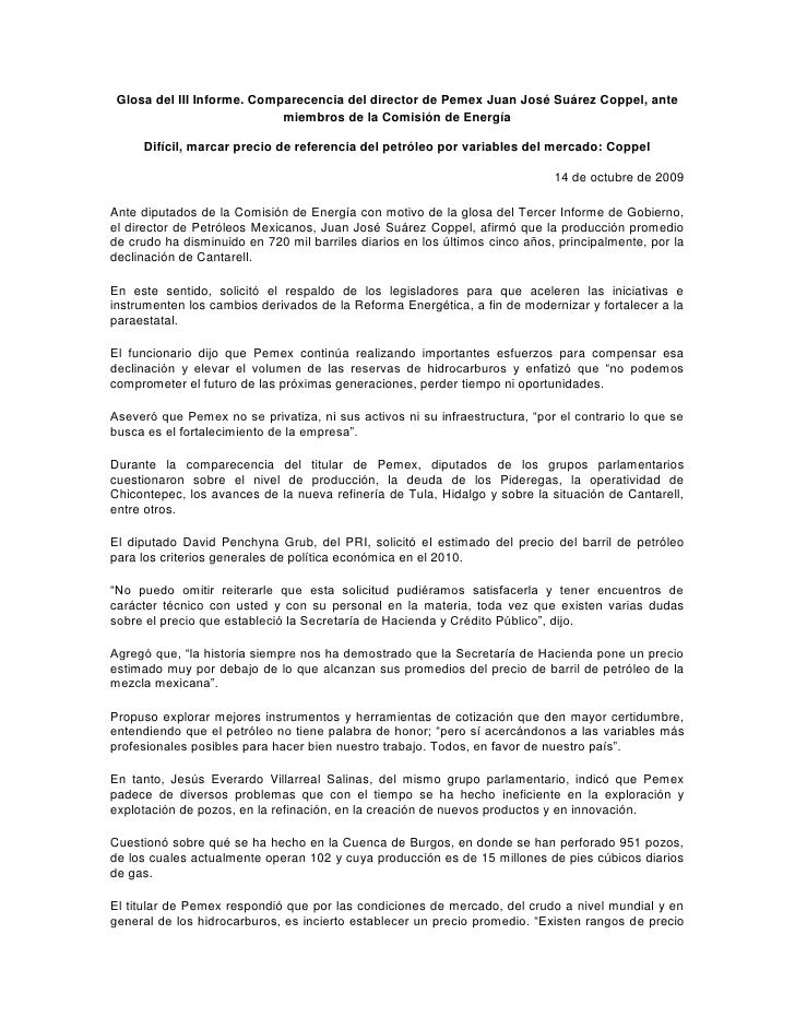 Glosa del III Informe. Comparecencia del director de Pemex Juan José Suárez Coppel, ante miembros de la Comisión de Energí...