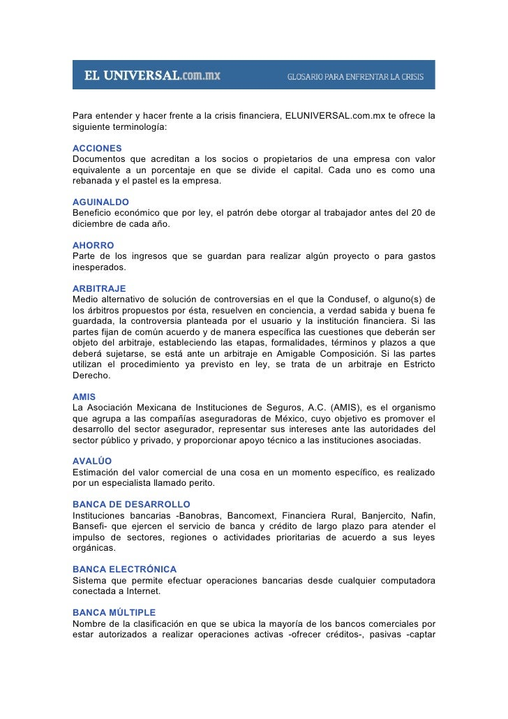 Para entender y hacer frente a la crisis financiera, ELUNIVERSAL.com.mx te ofrece la siguiente terminología:  ACCIONES Doc...