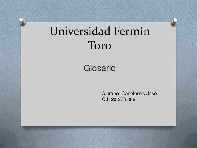 Universidad Fermín Toro Glosario Alumno: Canelones José C.I: 20.273.089