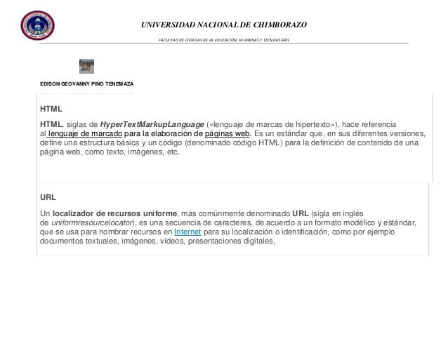 UNIVERSIDAD NACIONAL DE CHIMBORAZO FACULTAD DE CIENCIAS DE LA EDUCACIÓN, HUMANAS Y TECNOLOGÍAS  EDISON GEOVANNY PINO TENEM...