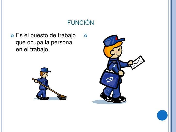 función<br />Es el puesto de trabajo que ocupa la persona en el trabajo.<br />