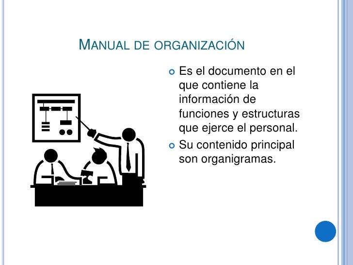 Manual de organización <br />Es el documento en el que contiene la información de funciones y estructuras que ejerce el pe...