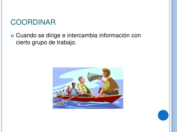 COORDINAR<br />Cuando se dirige e intercambia información con cierto grupo de trabajo.<br />