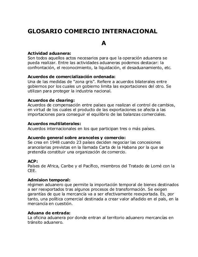 Glosario comercio internacional for Que es politica internacional