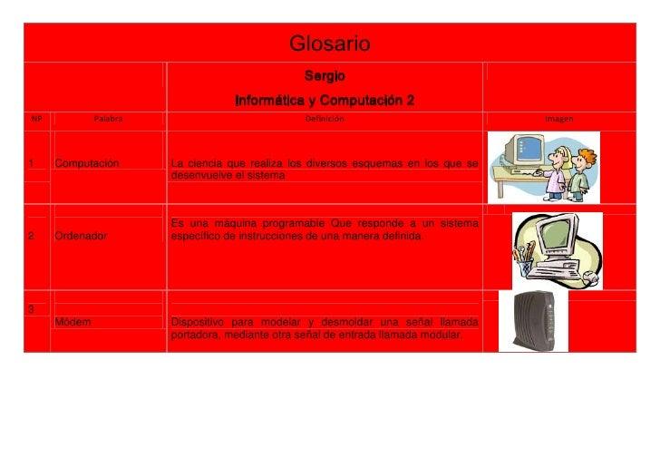 Glosario                                                Sergio                                   Informática y Computación...