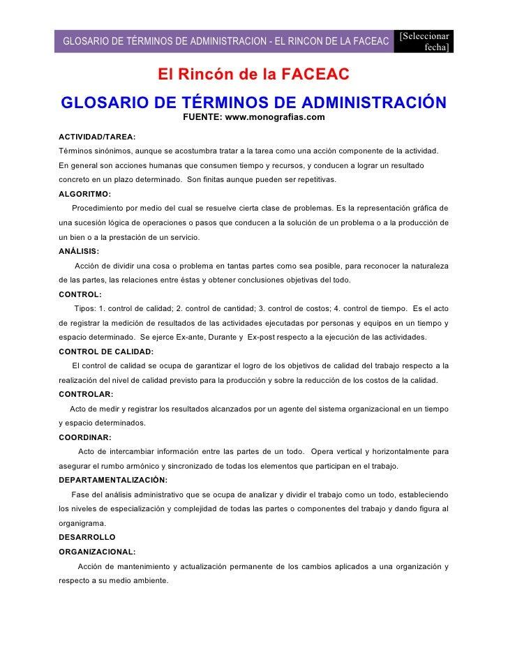[Seleccionar  GLOSARIO DE TÉRMINOS DE ADMINISTRACION - EL RINCON DE LA FACEAC                                        fecha...
