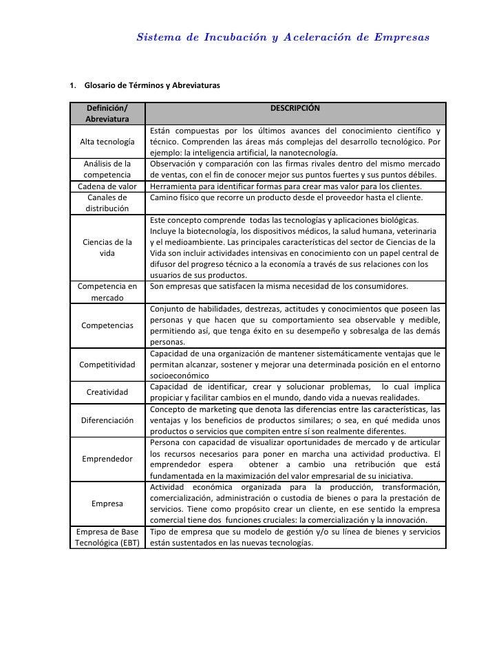 Sistema de Incubación y Aceleración de Empresas    1. Glosario de Términos y Abreviaturas     Definición/                 ...