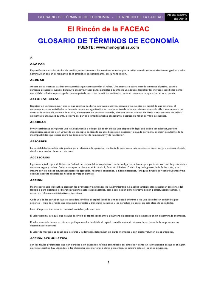 Glosario De Economia