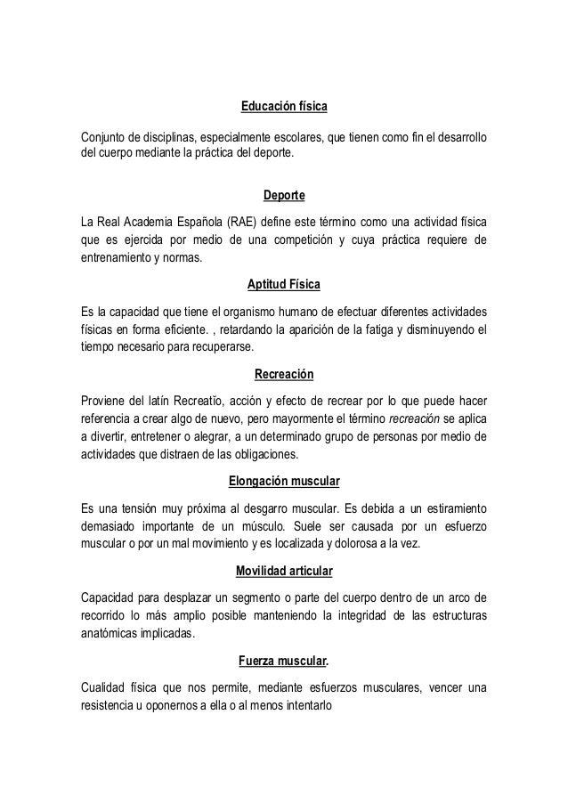 Glosario de terminos.educacion fisica