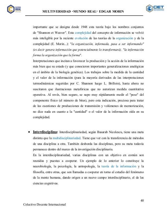sobre la interdisciplinariedad edgar morin pdf