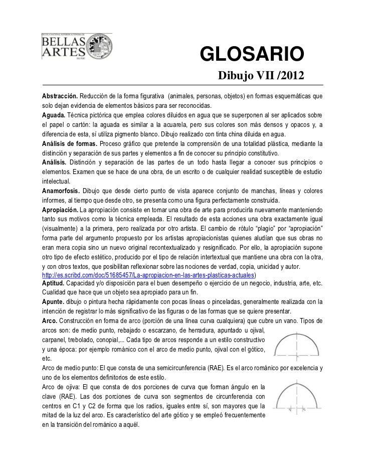 GLOSARIO                                                                     Dibujo VII /2012Abstracción. Reducción de la ...