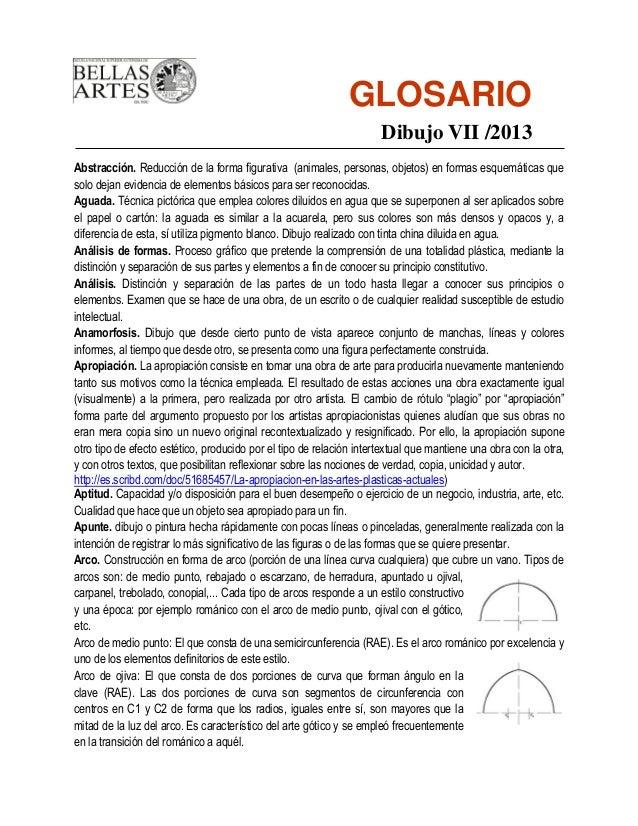 GLOSARIO                                                                     Dibujo VII /2013Abstracción. Reducción de la ...