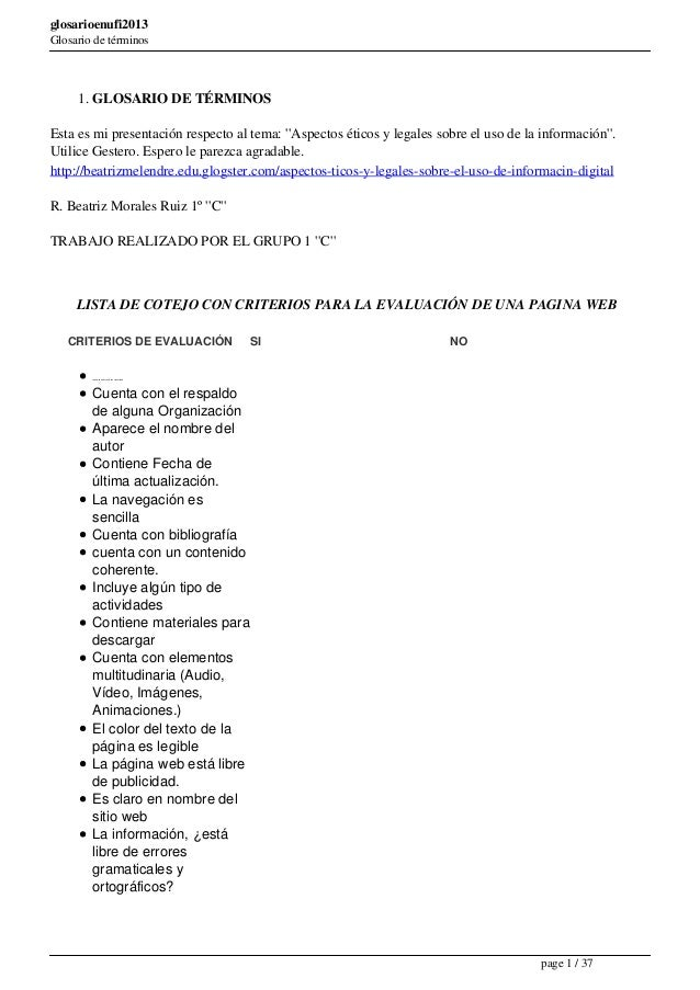 """glosarioenufi2013 Glosario de términos  1. GLOSARIO DE TÉRMINOS Esta es mi presentación respecto al tema: """"Aspectos éticos..."""