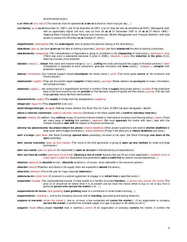Glosario español ingles de palabras y expresiones utiles