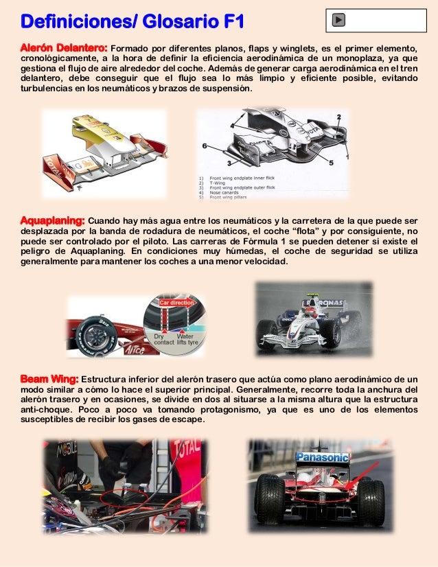Definiciones/ Glosario F1Alerón Delantero: Formado por diferentes planos, flaps y winglets, es el primer elemento,cronológ...