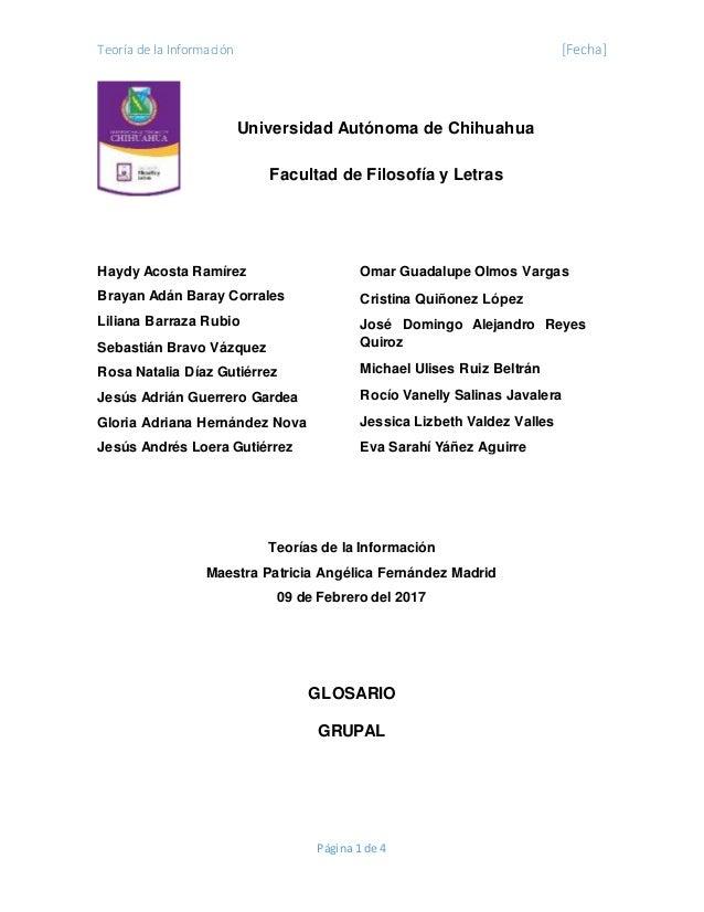 Teoría de la Información [Fecha] Página 1 de 4 Haydy Acosta Ramírez Brayan Adán Baray Corrales Liliana Barraza Rubio Sebas...