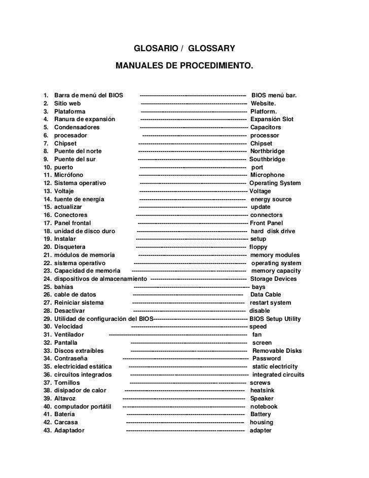 GLOSARIO /  GLOSSARY<br />MANUALES DE PROCEDIMIENTO.<br />Barra de menú del BIOS          --------------------------------...