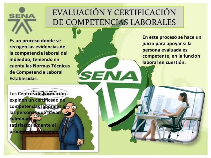 EVALUACIÓN Y CERTIFICACIÓN DE COMPETENCIAS LABORALES Es un proceso donde se recogen las evidencias de la competencia labor...