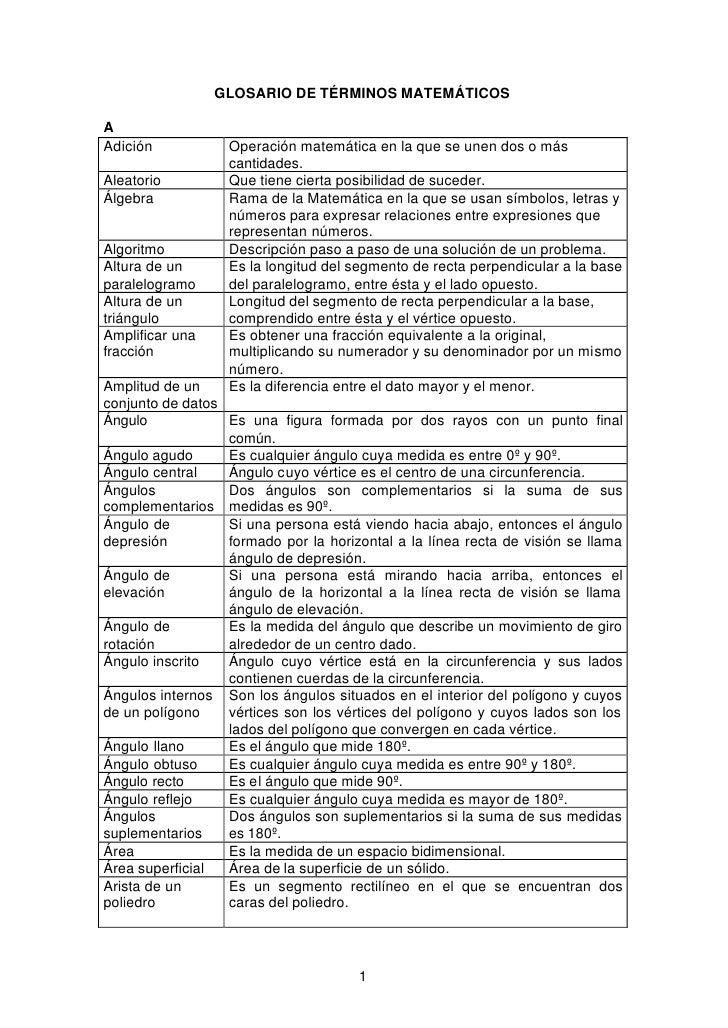 GLOSARIO DE TÉRMINOS MATEMÁTICOS  A Adición            Operación matemática en la que se unen dos o más                   ...