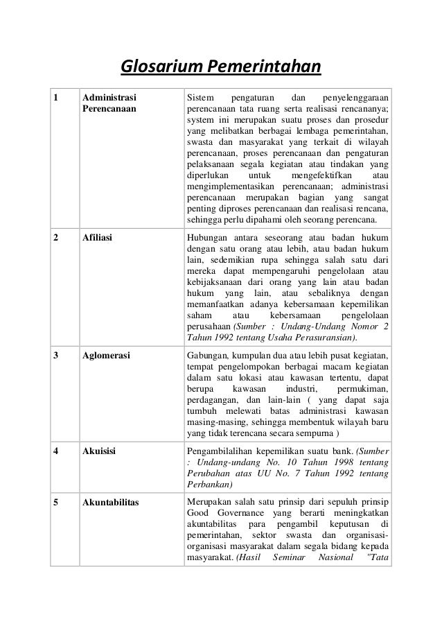 Glosarium Pemerintahan1   Administrasi      Sistem     pengaturan     dan     penyelenggaraan    Perencanaan       perenca...