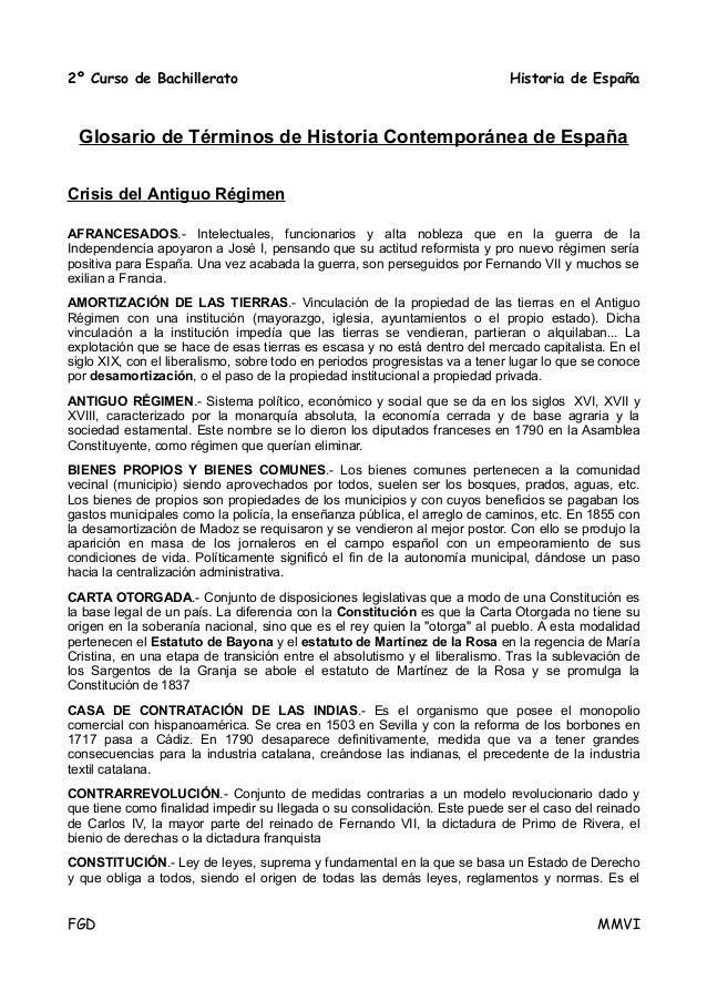 2º Curso de Bachillerato                                                     Historia de España  Glosario de Términos de H...
