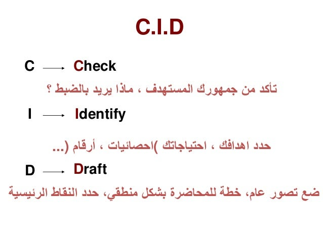 C Check تأكدمنجمهوركالمستهدف،ماذايريدبالضبط؟ I Identify حدداهدافك،احتياجاتك(احصائيات،أرقام...) D...