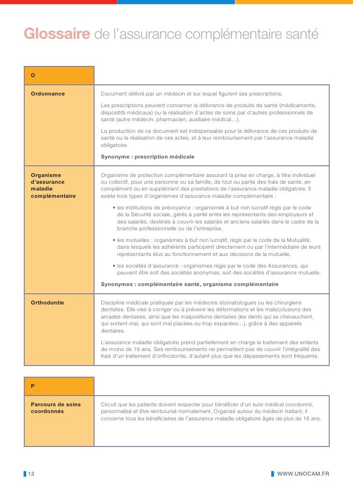 Le glossaire de l assurance maladie complémentaire 6dd88f67e3b7