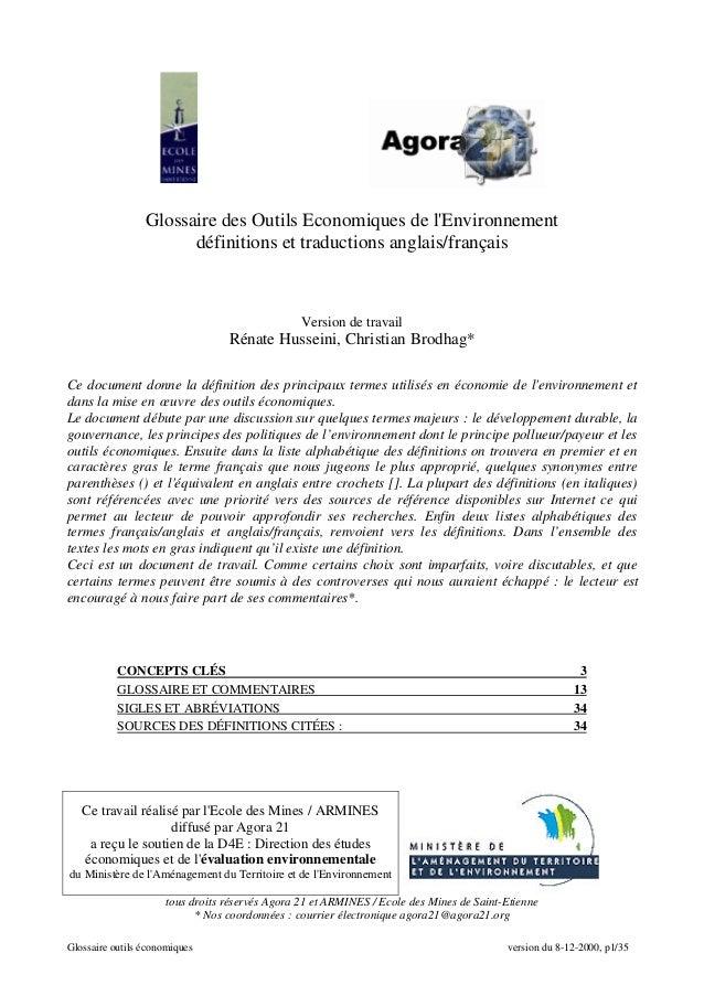 Glossaire outils économiques version du 8-12-2000, p1/35 Glossaire des Outils Economiques de l'Environnement définitions e...