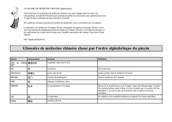 GLOSSAIRE DE MEDECINE CHINOISE [alphabétique]               Vous trouverez ici un glossaire de médecine chinoise avec pour...