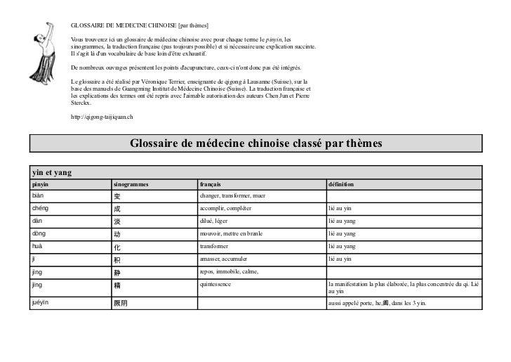 GLOSSAIRE DE MEDECINE CHINOISE [par thèmes]          Vous trouverez ici un glossaire de médecine chinoise avec pour chaque...
