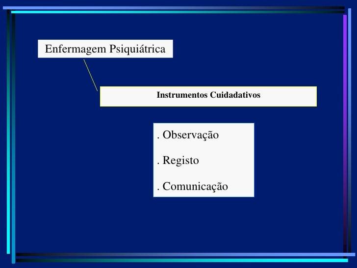 Enfermagem Psiquiátrica                     Instrumentos Cuidadativos                     . Observação                    ...