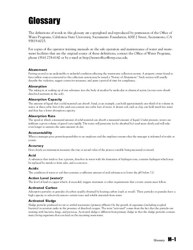 Glossary M–1 Glossary The definitions of words in this glossary are copyrighted and reproduced by permission of the Office...