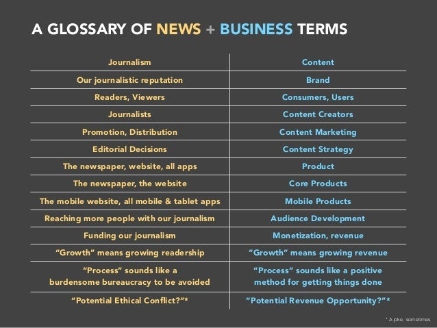 newspaper terms glossary The medialink broadcasting glossary was prepared by and  page book with 35,000 definitions of slang and technical terms from  or broadcast news from .