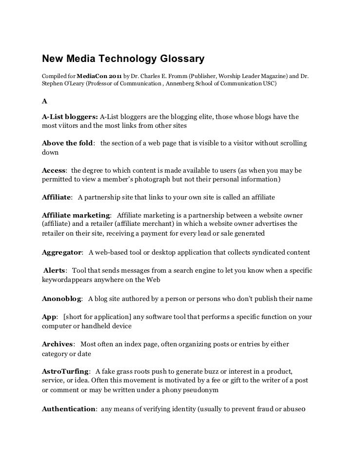 New Media Technology GlossaryCompiled for MediaCon 2011 by Dr. Charles E. Fromm (Publisher, Worship Leader Magazine) and D...