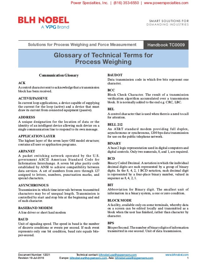 Handbook TC0009 Glossary of Technical Terms for Process Weighing Solutions for Process Weighing and Force Measurement Tech...