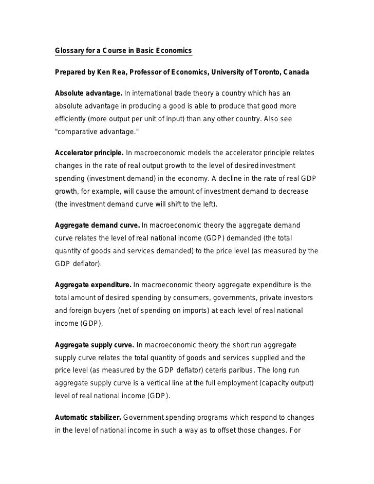 Glossary for a Course in Basic Economics  Prepared by Ken Rea, Professor of Economics, University of Toronto, Canada  Abso...