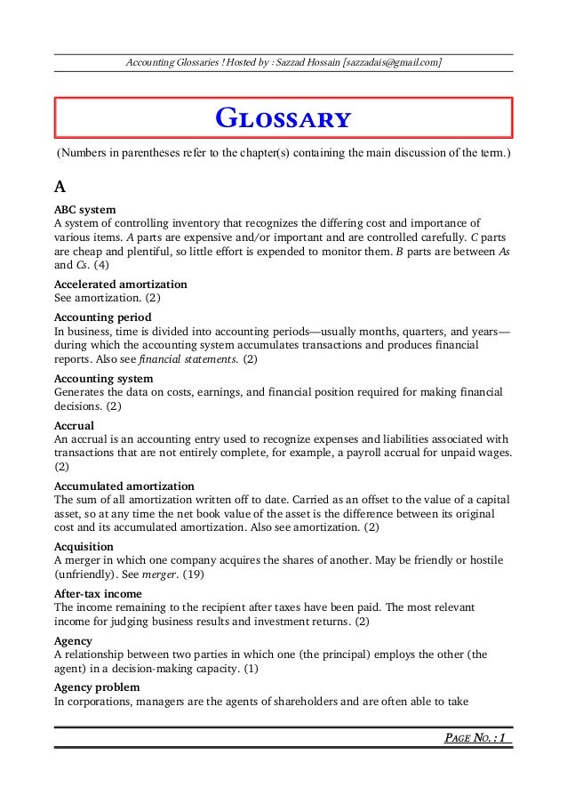 Accounting Glossaries ! Hosted by : Sazzad Hossain [sazzadais@gmail.com] Glossary (Numbers in parentheses refer to the cha...