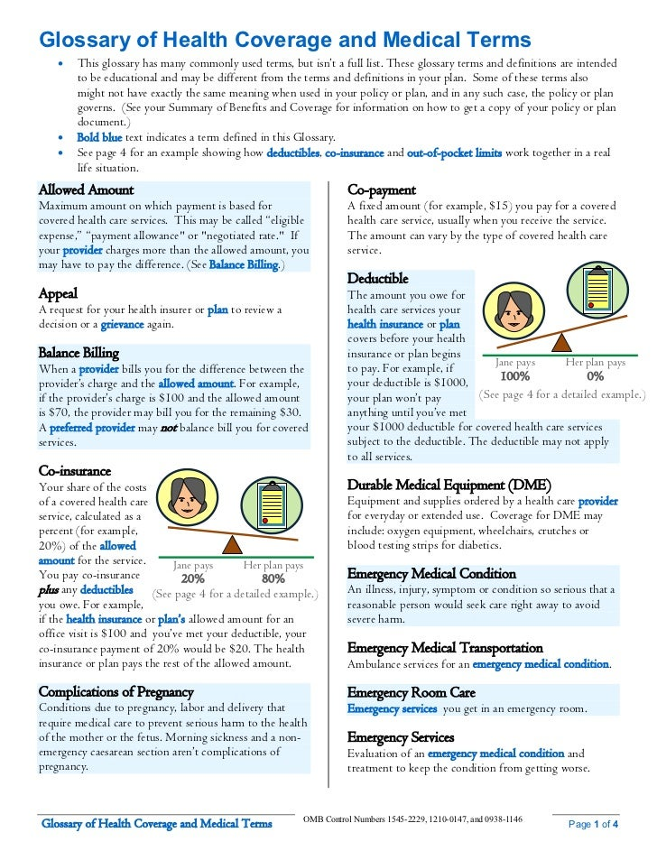 Glossary of Health Coverage and Medical Terms        This glossary has many commonly used terms, but isn't a full list. Th...