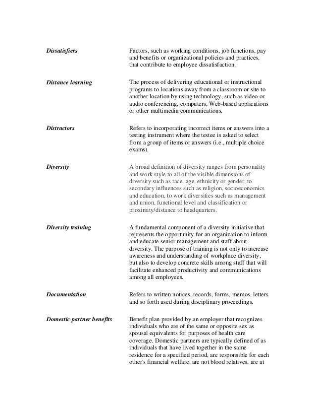 Glossary of Organization Conditions and Classifications