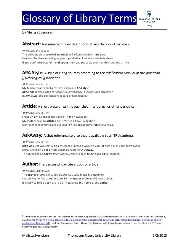 glossary in thesis