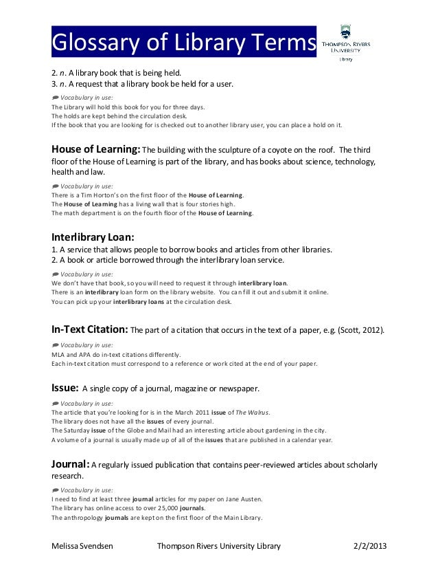 glossary paper terminology