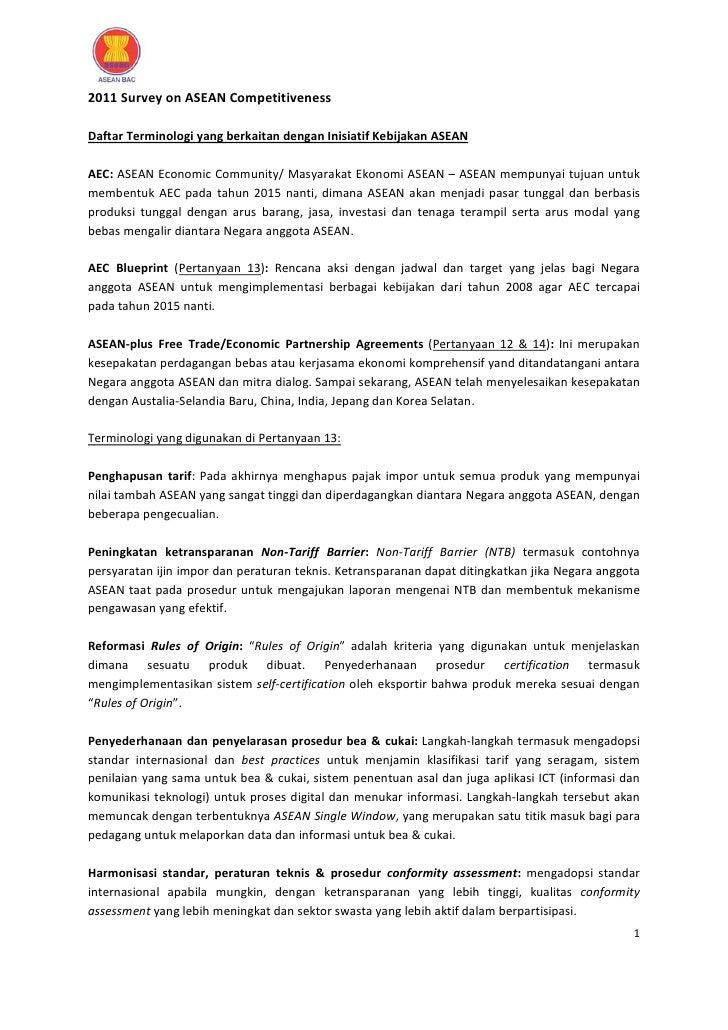 2011SurveyonASEANCompetitivenessDaftarTerminologiyangberkaitandenganInisiatifKebijakanASEANAEC:ASEANEcono...