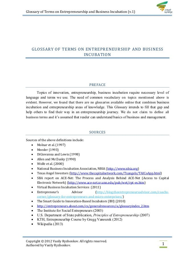 Glossary of Terms on Entrepreneurship and Business Incubation (v.1)   GLOSSARY OF TERMS ON ENTREPRENEURSHIP AND BUSINESS  ...