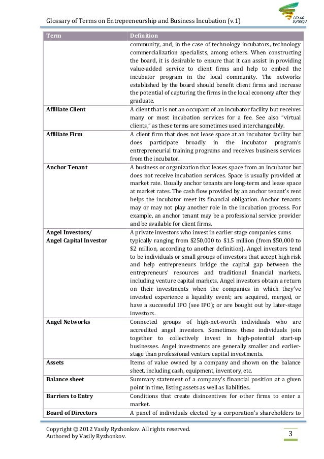 Glossary Terms Definitions: Glossary Of Terms On Entrepreneurship And Business