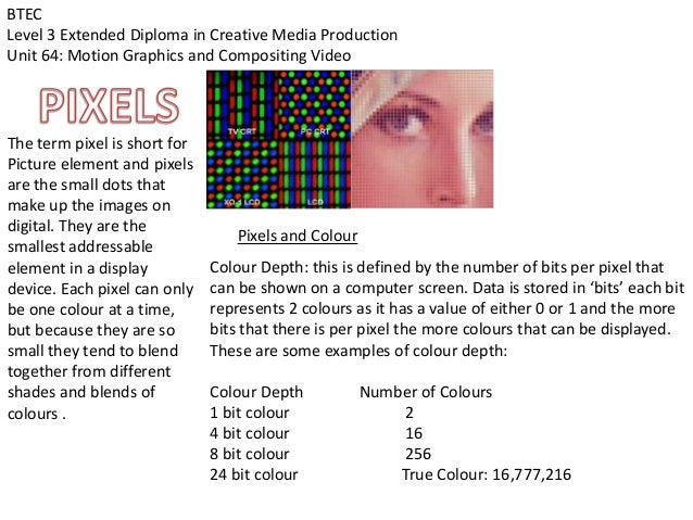 BTECLevel 3 Extended Diploma in Creative Media ProductionUnit 64: Motion Graphics and Compositing VideoThe term pixel is s...