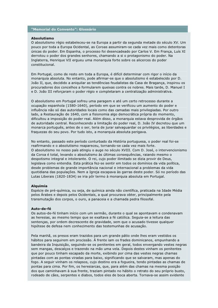 """Memorial do Convento"": Glossário  Absolutismo O absolutismo régio estabeleceu-se na Europa a partir da segunda metade do ..."