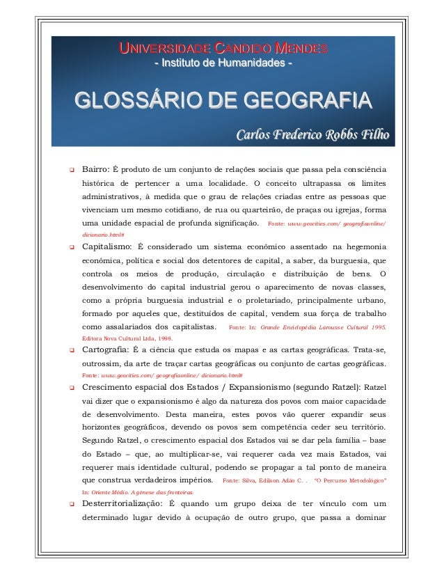 UNIVERSIDADE CANDIDO MENDES                           - Instituto de Humanidades -GLOSSÁRIO DE GEOGRAFIA                  ...
