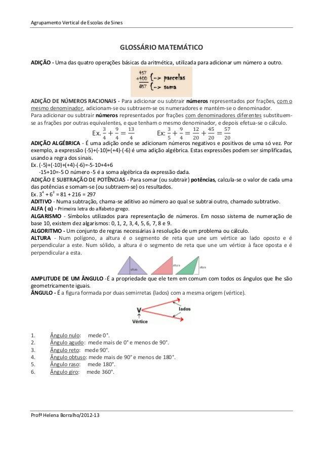 Agrupamento Vertical de Escolas de Sines                                      GLOSSÁRIO MATEMÁTICOADIÇÃO - Uma das quatro ...