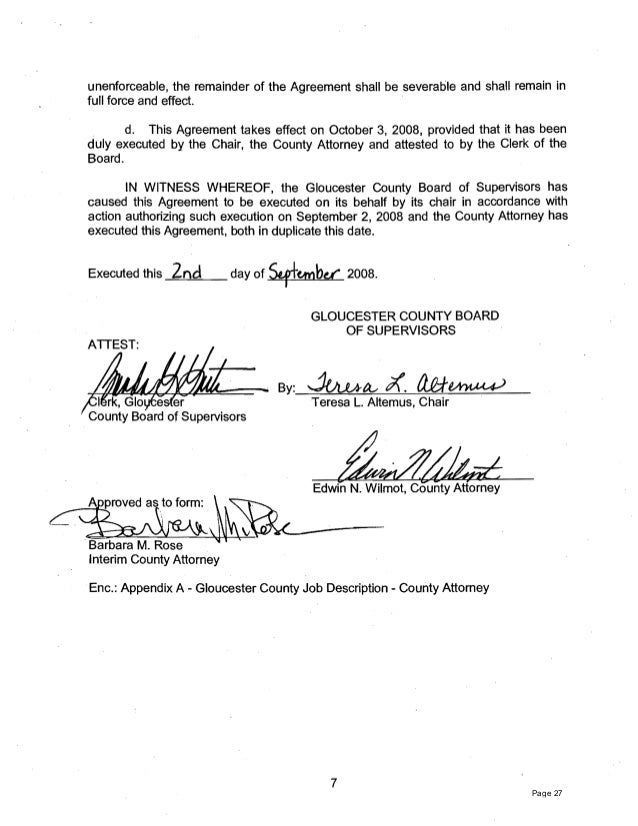 Gloucester County Admin Compensation Agreements 2013